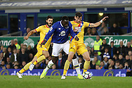 Joel Ward of Crystal Palace gets in front to block Romelu Lukaku of Everton. Premier league match, Everton v Crystal Palace at Goodison Park in Liverpool, Merseyside on Friday 30th September 2016.<br /> pic by Chris Stading, Andrew Orchard sports photography.