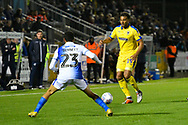 Tom Soares (19) of AFC Wimbledon on the attack during the EFL Sky Bet League 1 match between Bristol Rovers and AFC Wimbledon at the Memorial Stadium, Bristol, England on 23 October 2018.