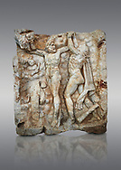 Roman Sebasteion relief sculpture of Zeus and Prometheus, Aphrodisias Museum, Aphrodisias, Turkey.  <br /> <br /> Prometheus is screaming in pain. Zeus had given him a terrible punishment for giving fire to man: he was tied to the Caucasus mountains and had his liver picked out daily by an eagle. Herakles shot the eagle and is undoing the first manacle. He wears his trade mark lion-skin and thrown his club to one side. A small mountain nymph, holding a throwing stick appears amongst the rocks. .<br /> <br /> If you prefer to buy from our ALAMY STOCK LIBRARY page at https://www.alamy.com/portfolio/paul-williams-funkystock/greco-roman-sculptures.html . Type -    Aphrodisias     - into LOWER SEARCH WITHIN GALLERY box - Refine search by adding a subject, place, background colour, museum etc.<br /> <br /> Visit our ROMAN WORLD PHOTO COLLECTIONS for more photos to download or buy as wall art prints https://funkystock.photoshelter.com/gallery-collection/The-Romans-Art-Artefacts-Antiquities-Historic-Sites-Pictures-Images/C0000r2uLJJo9_s0