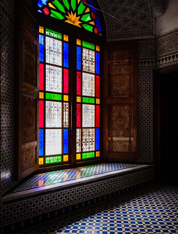FEZ, MOROCCO - CIRCA APRIL 2017:  Tinted glass window in Morocco