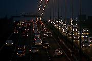 Traffic on M1 Motorway near Hertfordshire, United Kingdom.
