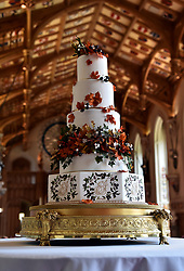 The wedding cake created by Sophie Cabot for the wedding of Princess Eugenie to Jack Brooksbank seen in St. George's Hall at Windsor Castle
