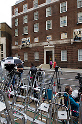 © Licensed to London News Pictures. 04/07/2013. London, UK. Stepladders mark media positions outside the Lindo Wing of St Mary's Hospital in West London today (04/07/2013) as the world awaits the arrival of the son or daughter of the Duke and Duchess of Cambridge. Photo credit: Matt Cetti-Roberts/LNP