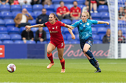 BIRKENHEAD, ENGLAND - Sunday, August 29, 2021: Liverpool's Leighanne Robe (L) and London City Lionesses' Amy Rodgers during the FA Women's Championship game between Liverpool FC Women and London City Lionesses FC at Prenton Park. London City won 1-0. (Pic by Paul Currie/Propaganda)
