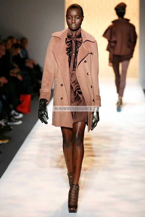 A model walks the runway wearing Christian Siriano Fall 2009 collection during the Mercedes-Benz fashion week in New York