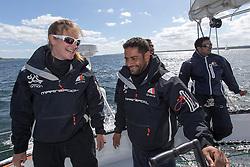 Anna-Maria Renken (GER) and Mohsin Al Busaidi (OMA) on Oman Sail's MOD70 Musandam during Kiel week 2014, 22-06-2014, Kiel - Germany.