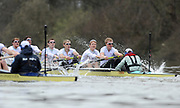 Putney, London, Cambridge [right] start to pull away from Oxford on the Chiswick Bend, during the 156th, University Boat Race156th Race, on the Championship Course Putney to Hammersmith  Saturday  03/04/2010 [Mandatory Credit Peter Spurrier/ Intersport Images]  <br /> <br /> CUBC Crew, Bow - Rob WEITEMEYER, Geoff ROTH, George NASH, Peter McCELLAND, Deaglan McEACHERN, Henry PELLY, Derek RASMUSSEN, Stroke - Fred GILL and Cox - Ted RANDOLPH<br /> <br /> OUBC crew, Bow - Ben MYERS, Martin WALSH, Tyler WINKLEVOSS, Cameron WINKLEVOSS, Sjoerd HAMBURGER, Matt EVANS, Simon GAWLIK, Stroke - Charlie BURKITT and Cox - Adam BARHAMAND
