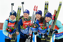 March 16, 2019 - –Stersund, Sweden - 190316 Anastasiya Merkushyna, Vita Semerenko, Yuliia Dzhima and Valj Semerenko of Ukraine celebrate after the Women's 4x6 km Relay during the IBU World Championships Biathlon on March 16, 2019 in Östersund..Photo: Petter Arvidson / BILDBYRÃ…N / kod PA / 92268 (Credit Image: © Petter Arvidson/Bildbyran via ZUMA Press)
