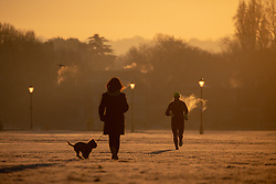 © Licensed to London News Pictures. 31/01/2019. London, UK. Walkers in Blackheath Park in south east London on a frosty, clear morning. Temperatures in London reach minus three degrees Celsius last night. Photo credit : Tom Nicholson/LNP
