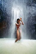 Woman in waterfall, Montserrat