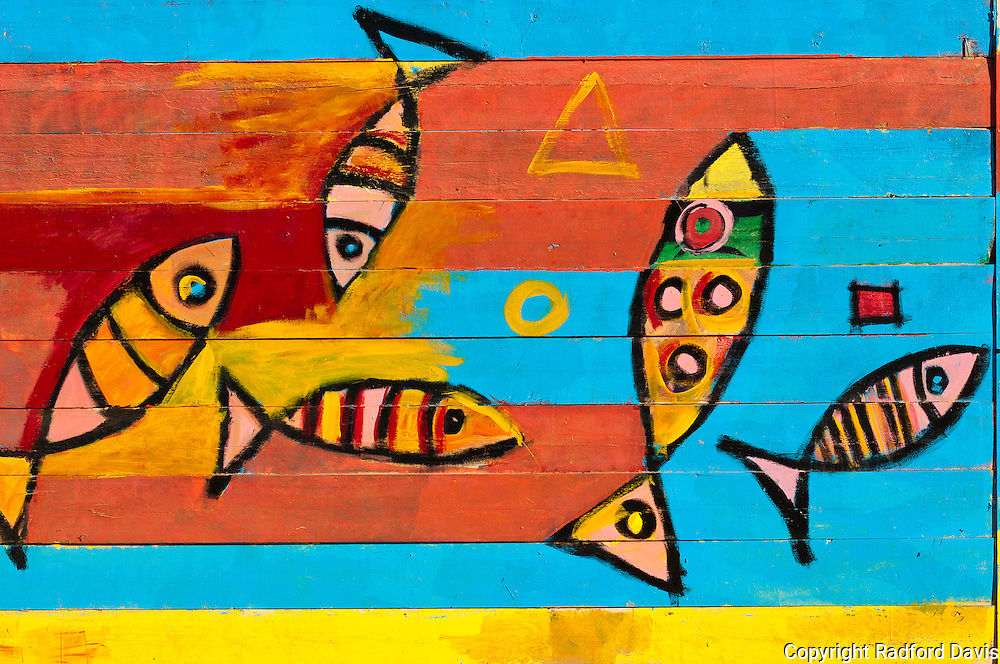 Wall paintings near the Red Sea of fish.