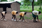 Older pupils are sweeping the courtyard of the small rural institution that Hassana Ibrahim, 11, is attending in Boggu, Tamale, northern Ghana.