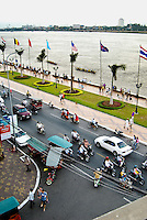 The view of Sisowath Quay from the Foreign Correspondents' Club in Phnom Penh, Cambodia