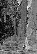 The First Bather in these waters. A plunge into the Central Sea from the book ' A journey to the centre of the earth ' by Jules Verne (1828-1905) Published in New York by Charles Scribner's Sons, 1905
