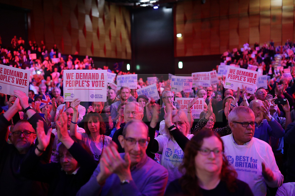 © Licensed to London News Pictures. 09/12/2018. London, UK. People's Vote rally at the Excel Centre in London. MPs will vote on Prime Minister Theresa May's proposed Brexit deal in the coming week. Photo credit: Rob Pinney/LNP