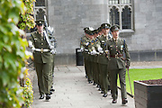 12/07/2015   repro free The National Day of Commmeoration Ceremony was held in NUI, Galway in honour of all those who irish mean nd women who died in past wars or on service with the UN . 1st Inf Bn marching in the quad at NUI, Galway.<br /> Photo:Andrew Downes:XPOSURE