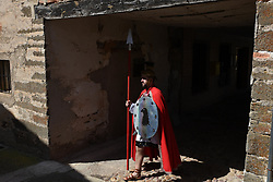 April 14, 2017 - Hiendelaencina, Guadalajara, Spain - A Roman soldier of an army of ancient time during Good Friday reenactments of the passion of Christ in the small village of 'Hiendelaencina', Spain. (Credit Image: © Jorge Sanz GarcíA/Pacific Press via ZUMA Wire)