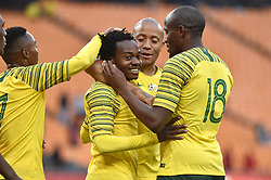 South Africa: Johannesburg: Bafana Bafana player Percy Tau celebrates with teams mates after scoring a goal against Seychelles during the Africa Cup Of Nations qualifiers at FNB stadium, Gauteng.<br />Picture: Itumeleng English/African News Agency (ANA)