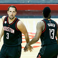 01 March 2017: Houston Rockets forward Ryan Anderson (3) and Houston Rockets guard James Harden (13) celebrate during the Houston Rockets 122-103 victory over the LA Clippers, at the Staples Center, Los Angeles, California, USA.