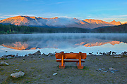 Bench overlooking Patricia Lake and the Trident Range of  the Canadian Rocky Mountains<br />