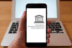 Using iPhone smart phone to display website logo of UNESCO
