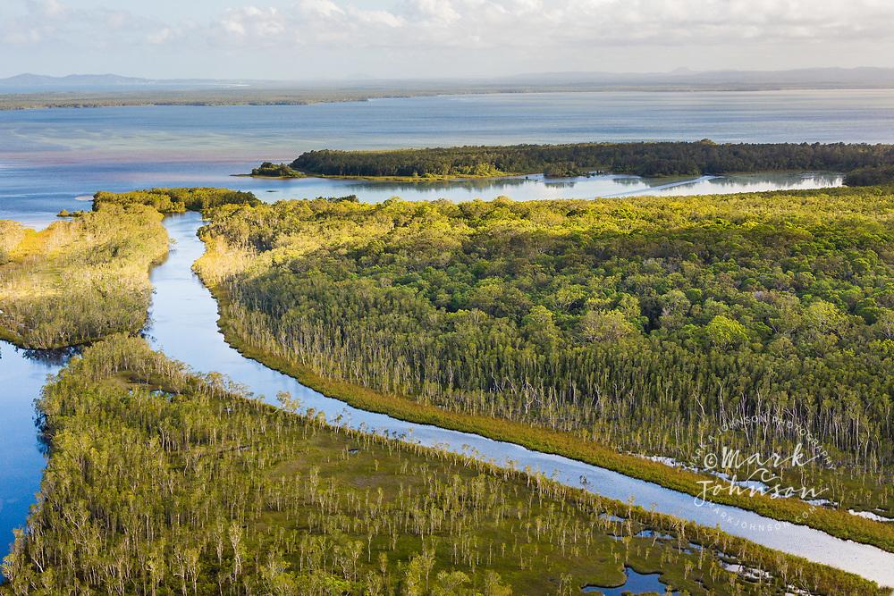Aerial photograph of the Noosa River & Lake Cootharaba, Great Sandy National Park, Sunshine Coast, Queensland, Australia