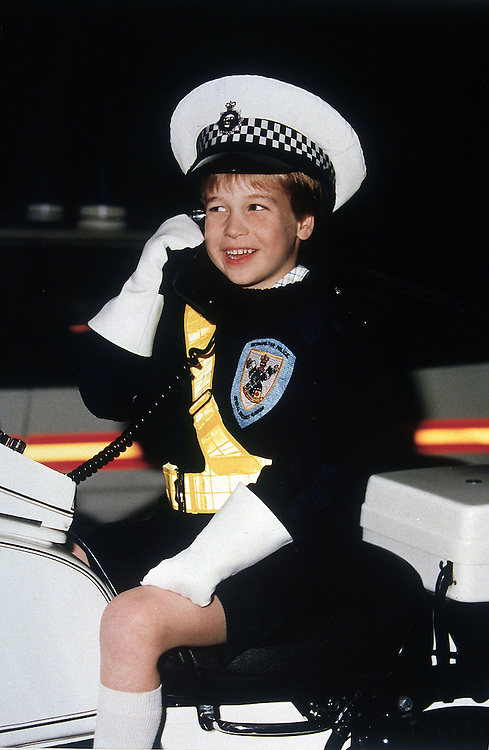 Prince William dressed in a police motor cyclists uniform as he visits the Hendon Police HQ,London.