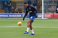 AFC Wimbledon defender Terell Thomas (6) warming up during the EFL Sky Bet League 1 match between AFC Wimbledon and Southend United at the Cherry Red Records Stadium, Kingston, England on 24 November 2018.