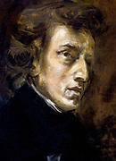 Frédéric François Chopin, 1810 - 1849), Polish composer and pianist. portrait by Eugene Delacroix
