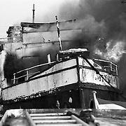 Bootbrand Hollandse Brug bij Naarden