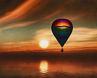 During sunset, two hot air balloons sail over the sea.<br /> Bring the atmosphere of the sea and the sense of freedom of travel into your home with a hot air balloon. This work is available in various sizes and materials. This painting easily brings the atmosphere of the sea to your home. This coastal scene can be printed in different sizes and on different materials. Both on canvas, wood, metal or framed so it certainly fits into your interior. –<br /> -<br /> BUY THIS PRINT AT<br /> <br /> FINE ART AMERICA / PIXELS<br /> ENGLISH<br /> https://janke.pixels.com/featured/hot-air-balloon-sail-over-the-sea-sunset-jan-keteleer.html<br /> <br /> <br /> WADM / OH MY PRINTS<br /> DUTCH / FRENCH / GERMAN<br /> https://www.werkaandemuur.nl/nl/shopwerk/Hete-lucht-ballonvaart-over-de-zee-zonsondergang/778309/132?mediumId=15&size=70x55<br /> –<br /> -