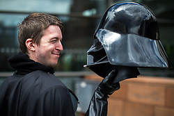 "© Licensed to London News Pictures . 30/07/2017 . Manchester , UK . James "" Mez "" Rice (27 from Irlam) with his Darth Vader helmet . Cosplayers, families and guests at Comic Con at the Manchester Central Convention Centre . Photo credit : Joel Goodman/LNP"