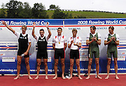 Lucerne, SWITZERLAND. CAN M2-, Bow, Dave CALDER and Scott FRANDSEN,  Gold Medalist, left NZL George DRINKWATER and Nathan TWADDLE Silver Medalist, and AUS Drew GINN and Duncan FREE,  on the awards dock, at the  2008 FISA World Cup Regatta, Round 2.  Lake Rotsee, on Sunday, 01/06/2008.   [Mandatory Credit:  Peter Spurrier/Intersport Images].Lucerne International Regatta. Rowing Course, Lake Rottsee, Lucerne, SWITZERLAND.