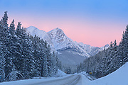 The Icefields Parkway  in the Canadian Rocky Mountains at dawn, Banff National Park, Alberta, Canada
