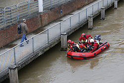 © Licensed to London News Pictures. 28/03/2016. Guilford, UK. A search and rescue team look for a missing kayaker in the River Wey in the centre of Guildford. Photo credit: Peter Macdiarmid/LNP