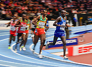 Shamrock Kipchirchir (USA) leads the field in the early laps of the Men's 3000m Final during the final session of the IAAF World Indoor Championships at Arena Birmingham in Birmingham, United Kingdom on Saturday, Mar 2, 2018. (Steve Flynn/Image of Sport)