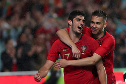 June 7, 2018 - Lisbon, Portugal - Portugal's forward Goncalo Guedes (L) celebrates with defender Raphael Guerreiro after scoring his second goal during the FIFA World Cup Russia 2018 preparation football match Portugal vs Algeria, at the Luz stadium in Lisbon, Portugal, on June 7, 2018. (Credit Image: © Pedro Fiuza via ZUMA Wire)