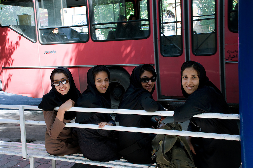 Students waiting for the bus.