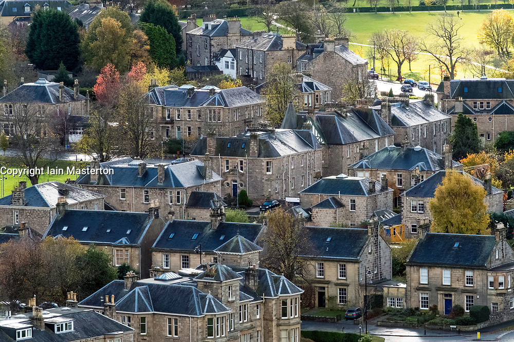 View of large traditional stone villas in affluent residential district of Stirling, Scotland , United Kingdom