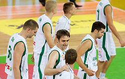 Uros Slokar of Slovenia, Erazem Lorbek of Slovenia, Saso Ozbolt of Slovenia after the friendly basketball match between National teams of Slovenia and Montenegro of Adecco Ex-Yu Cup 2011 as part of exhibition games before European Championship Lithuania 2011, on August 7, 2011, in Arena Stozice, Ljubljana, Slovenia. Slovenia defeated Crna Gora 86-79. (Photo by Vid Ponikvar / Sportida)