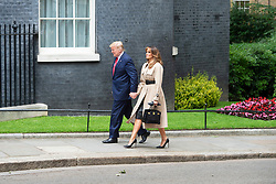 Donald Trump, US President and First Lady Melania Trump arrive in Downing Street as part of their State visit. Theresa May, Prime Minister and Mr May greet them on the doorstep of No.10 Downing Street, London, Great Britain <br /> 4th June 2019 <br /> L to R: <br /> <br /> Donald Trump<br /> Melania Trump <br /> <br /> <br /> Photograph by Elliott Franks