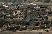 The scene from Boston Flats, where dozens of mobile homes have been burnt to the ground. (Arnold Lim/Black Press)