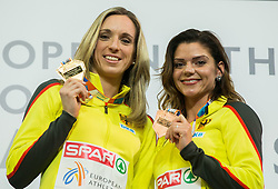 Winner Cindy Roleder of Germany and third placed Pamela Dutkiewicz of Germany celebrate during victory ceremony after competing in the 60 m Hurdles Women Final on day two of the 2017 European Athletics Indoor Championships at the Kombank Arena on March 4, 2017 in Belgrade, Serbia. Photo by Vid Ponikvar / Sportida
