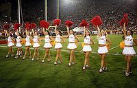 1 September 2007: Line of Song Girls cheerleaders on the sidelines during USC Trojans college football team defeated the Idaho Vandals 38-10 at the Los Angeles Memorial Coliseum in CA.  NCAA Pac-10 #1 ranked team first game of the season.