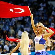 Anadolu Efes's cheerleaders perform during their Turkish Airlines Euroleague Beskatball Top 16 Game 5 Anadolu Efes between Zalgiris Kaunas at Abdi Ipekci Arena in Istanbul Turkey on Friday 25 January 2013. Photo by Aykut AKICI/TURKPIX