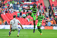 Forest Green Rovers Dale Bennett(6) first to the ball during the Vanarama National League Play Off Final match between Tranmere Rovers and Forest Green Rovers at Wembley Stadium, London, England on 14 May 2017. Photo by Adam Rivers.