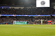 Minutes silence during the Champions League match between Manchester City and Celtic at the Etihad Stadium, Manchester, England on 6 December 2016. Photo by Craig Galloway.