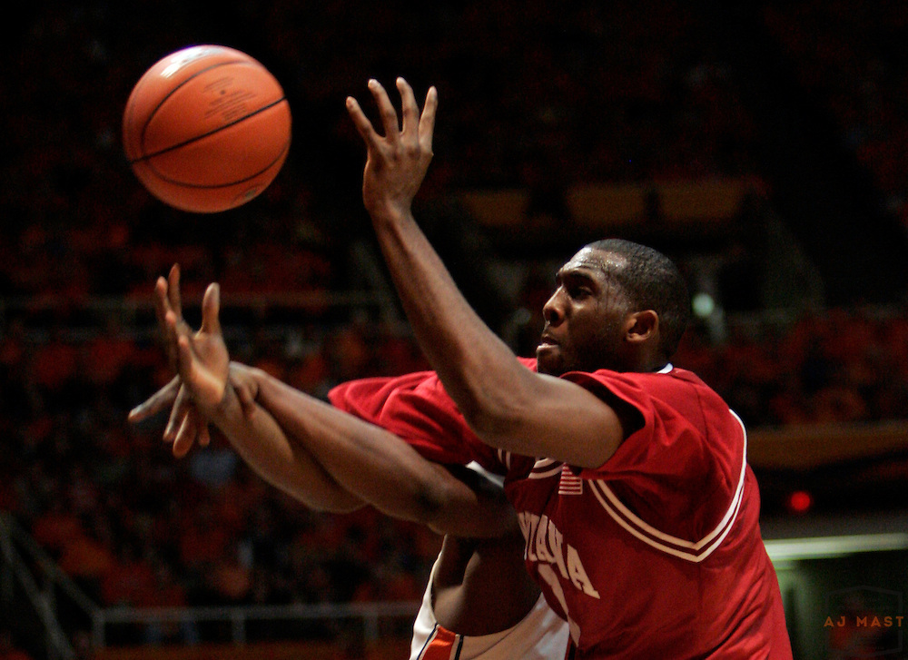 23 January 2007: Indiana forward DJ White (3) as the Indiana Hoosiers played Illinois  in a college basketball game in Champaign, Ill. Illinois won 51-43.