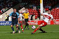 Photo: Steve Bond.<br />Walsall v Swansea City. Coca Cola League 1. 25/08/2007. Scott Dann (R) blocks an Andy Robinson shot