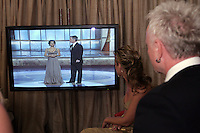 28 April 2006: Sharon Case and Anthony Geary watch the live show in the exclusive behind the scenes photos of celebrity television stars in the STAR greenroom at the 33rd Annual Daytime Emmy Awards at the Kodak Theatre at Hollywood and Highland, CA. Contact photographer for usage availability.